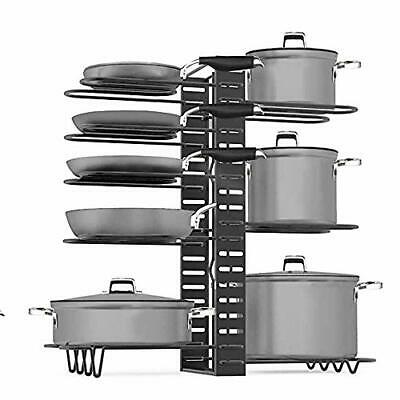 8 Pots Pan Rack Organizer Adjustable Holder Kitchen Cabinet Pantry Pot Lid