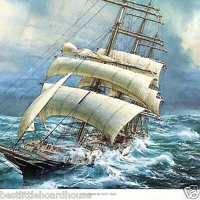 Vintage Original GRAIN RACER Sailing Ship Art Lithograph Print 1930s Unused NOS
