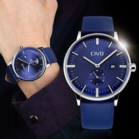 CIVO Men's Simple Design Blue Leather Band Wrist Watch Mens Classic Fashion waterproof and casual