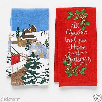 """2 St. Nicholas Square Kitchen Dish Towels """"All Roads lead you Home at Christmas"""""""