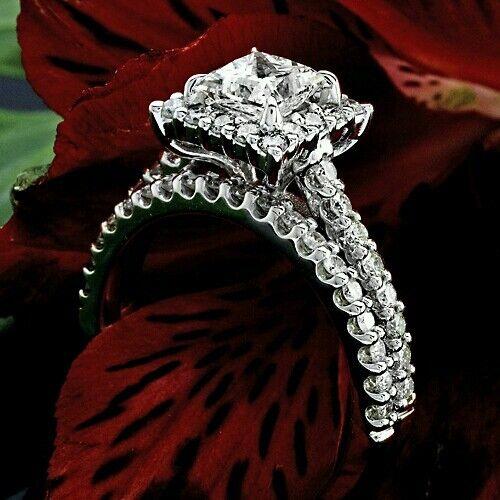 2.81 CT PRINCESS CUT DIAMOND HALO ENGAGEMENT RING 14 K WHITE GOLD ENHANCED