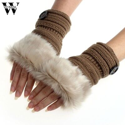 Women Gloves Winter Knitted Faux Fur Fingerless Wrist Soft Warm Leather New (Best Warm Leather Gloves)
