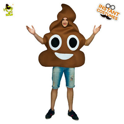 Men's Poop Emoji Costume Adult Poop Emoticon Jumpsuit For Carnival Party