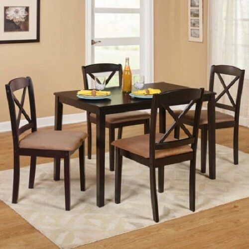 Details about Farmhouse Dining Table Set Small Wooden Espresso Kitchen  Dinette 5pc 4 Chairs