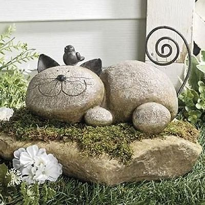 Whimsical Garden Statues Outdoor Decor Resting Cat Stone Sculpture Lawn Ornament