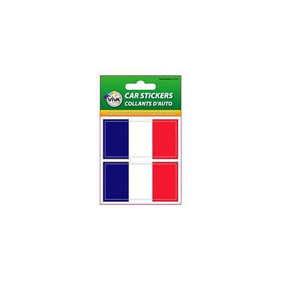 France Country Flag (FRANCE  , SET OF 2 COUNTRY FLAG VINYL CAR STICKERS .. 1 3/8 X 2 3/4 INCH )
