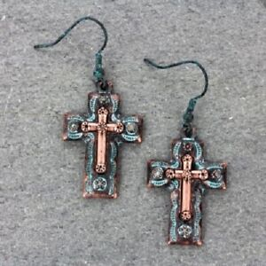 Western Turquoise Patina and Copper-tone Color Cross Hook Earrings