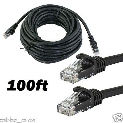 CAT6 100 FT RJ45 Ethernet LAN Network Cable Patch Cord For PC XBox Router BLACK Computers/Tablets & Networking