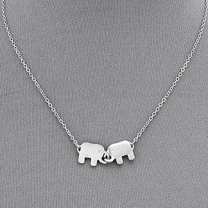 Rhodium Silver Simple Double Elephant Pendant Chain Pendant Necklace