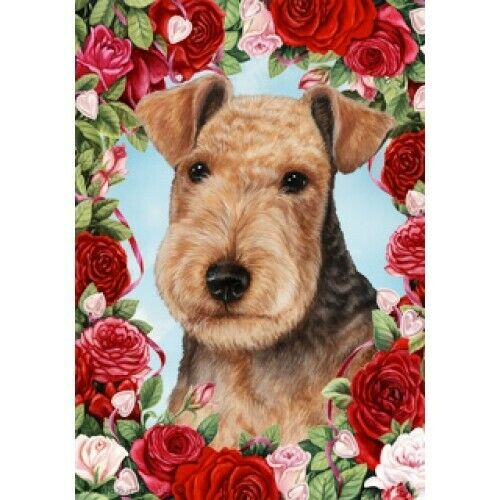 Roses House Flag - Lakeland Terrier 19234