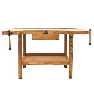 SIP 01441 Carpenters Oak Wooden Work Bench with 2 vices