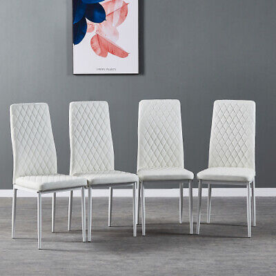 Set of 4 Metal Leg Padded Fireproof High Back Parsons Kitchen Dining Chairs US