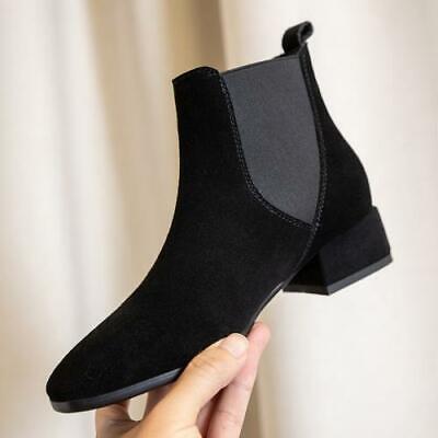 Details about  /Women/'s Smart Office Work Autumn Block Mid Heel Chelsea Ankle Boots 41 42 43 D