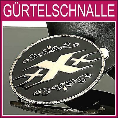 Herren Silber Gürtelschnalle (Triple X Gürtelschnalle,Hip-Hop schwarz silber Herrengürtel,BUCKLE,NEU,1A78a)