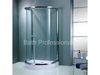 D shaped shower enclosure. Brand new in packaging. Brand: Bath Professionals