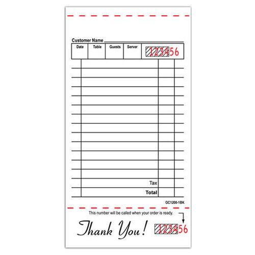 10000 Guest Checks GC1200-1 White Single Copy 1 part Guest Checks GC-1200
