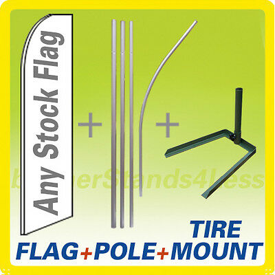 Swooper Flag Kit Feather Flutter Sign 15ft - Flag Pole Tire Mount Stand