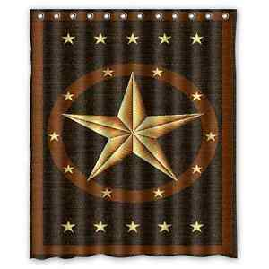 Custom texas star waterproof polyester fabric bathroom for Star material for curtains