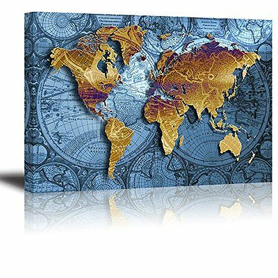 [Framed] Vintage Blue World Map Modern Canvas Art Prints Picture Wall Home Decor