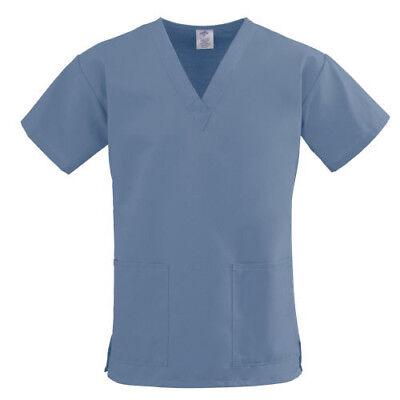 Scrub Top NEW Blue Unisex Medium XL 2X Men's Women's Medical Uniform - Blue Unisex Scrub Top