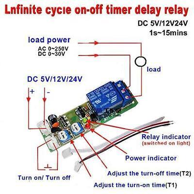 Qianson Dc5v 12v 24v Digital Led Display Infinite Cycle Delay Timer Switch Dc24v