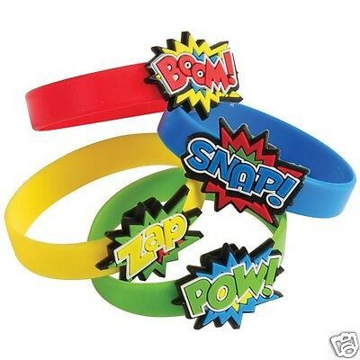 12 Superhero Rubber Bracelets Kid Party Goody Loot Bag Filler Favor Supply - Superhero Goodie Bags
