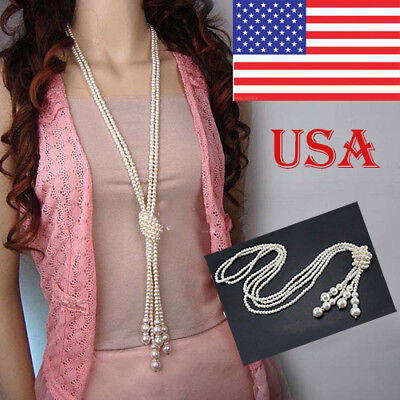 Elegant Simulated Pearl Necklace - Women Elegant Faux Pearl Tassel Long Chain Charms Sweater Necklace