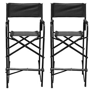 Tall Directors Chairs Black Aluminum Folding Chair Outdoor Indoor Chairs 2 PACK