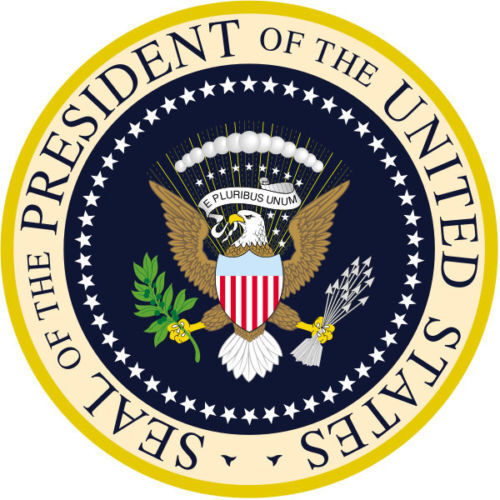 """PRESIDENTIAL-SEAL-ROUND-GLOSSY-COLORED STICKERS-1-5"""" SHEET-OF-3-STICKERS"""