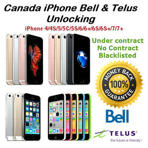 Bell and  iPhone Unlocking 5/5c/5s/6/6s/7/7 for $90