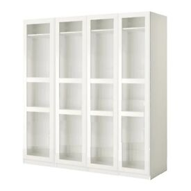 Brand New Ikea Pax Wardrobe With 4 Tyssedal white clear glass