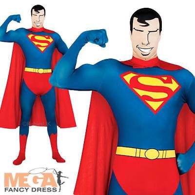 Superman 2nd Skin Mens Fancy Dress DC Superhero - Kostüm Lycra Superman