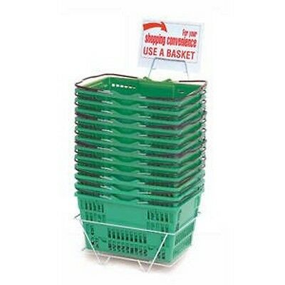 New 12 Standard Shopping Baskets - Chrome Handles - Metal Stand And Sign - Green