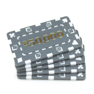 10 Gray $50000 32g Rectangular Square Poker Chips Plaques New- Buy 2, Get 1 Free