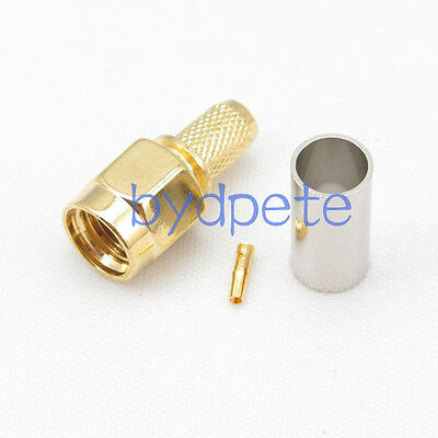 Male Connector Rf Adapter Cable (RP-SMA male RF connector adapter female pin crimp RG142 RG400 LMR195 RG58)