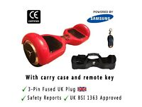 "Red Swegway Hoverboard 6.5"" Classic UK Official with Carry Case and Key"