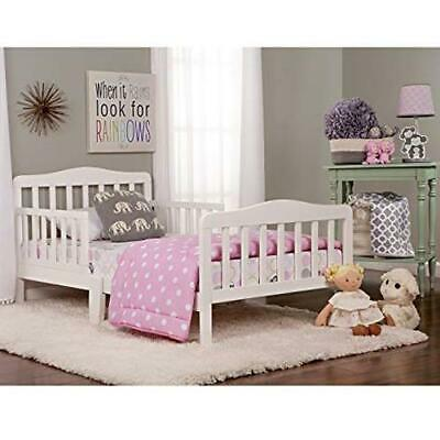 Baby Toddler Beds Wood Frame White Platform Kids w /Rails Be