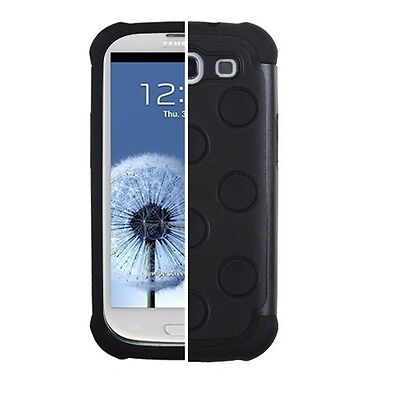 SAMSUNG GALAXY S3 i9300 DUAL LAYER HARD COVER+SILICONE TD HYBRID CASE BLACK for sale  Shipping to India