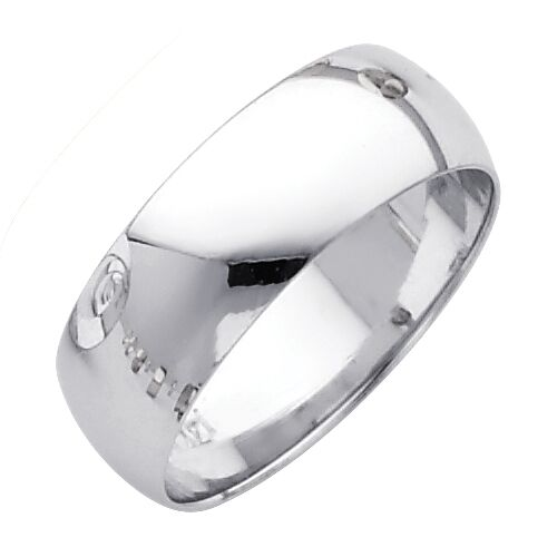 Solid 14k White Gold Plain Wedding Band Simple Ring Classic Dome Men Women 7 Mm Ebay