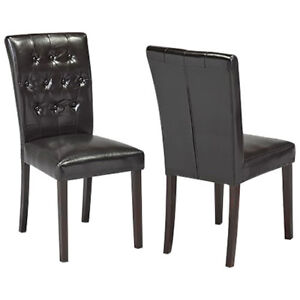 Contemporary Fabric Dining Chair - Set of 2 - Espresso New in Bo