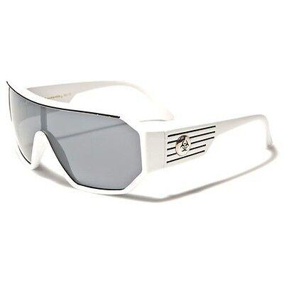 Retro Goggle Style Biohazard Shield White Mens Celebrity Fashion (Mens Celebrity Fashion)