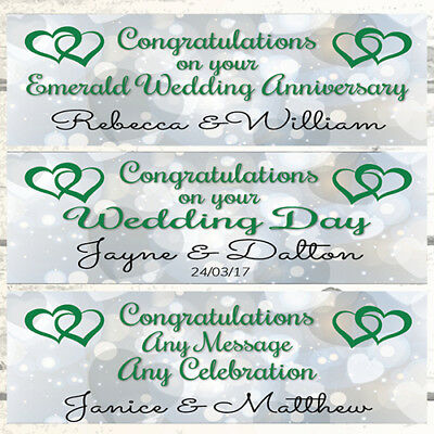 Personalised Anniversary Banners (2 PERSONALISED HEARTS JOINED WEDDING BANNERS, EMERALD 55TH WEDDING)