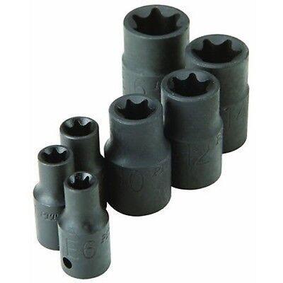 (7 Piece Impact Tork Bit Set  E6, E7, E8, E10, E12, E14, and E16 Torx Star Socket)
