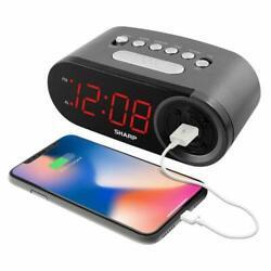 Sharp DIGITAL ALARM CLOCK RAPID CHARGE Smartphone 2 AMP USB PORT Phone NEW NOBOX