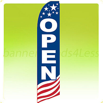 Open - Swooper Flag Feather Flutter Banner Sign 11.5 - Stars Stripes Usa Bb