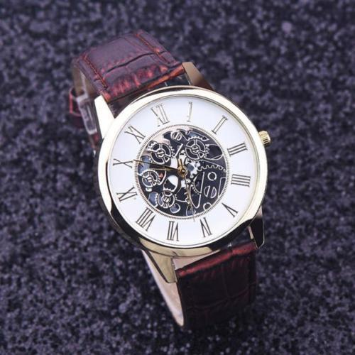 Hot Luxury Skeleton Stainless Brown Leather Men Women Dress Fashion Quartz Watch