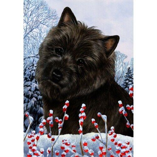 Winter House Flag - Black Cairn Terrier 15327