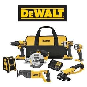 NEW DEWALT 7 TOOL COMBO KIT DCK720D2 154841844 W/ 2 BATTERIES CHARGER AND CONTRACTOR BAG