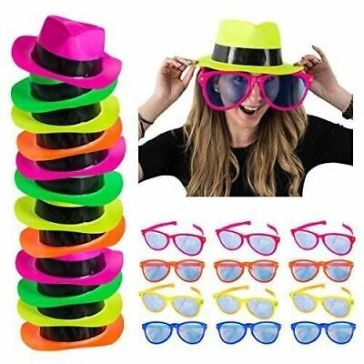 24pc Neon Party Favors 12 Gangster Hats 12 Jumbo Novelty Sunglasses Photo booth