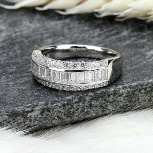 Half Eternity Band Engagement Wedding Ring 4.45 Ct VVS1 Diamond 14K White Gold